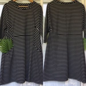 Lane Bryant Striped Dress, Black/White, Pockets